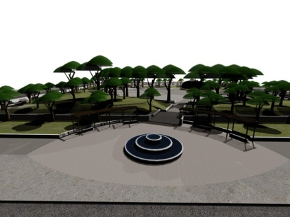 North side facing Church- Fountain design to be determined